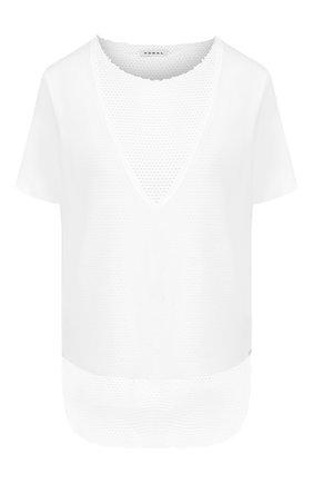 Женская футболка с перфорированной вставкой KORAL белого цвета, арт. A6124J07 | Фото 1
