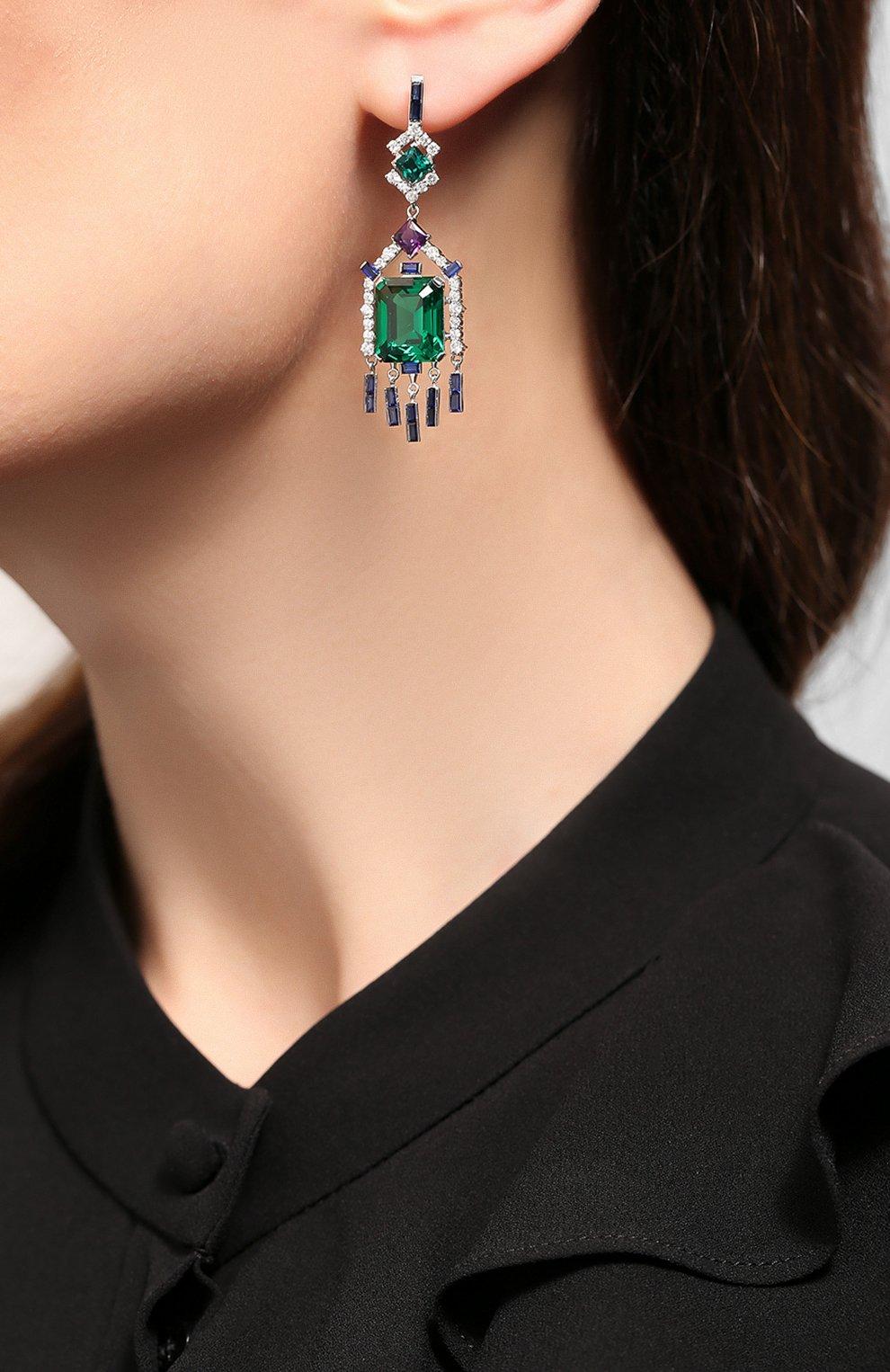 Женские серебряные серьги QUEENSBEE разноцветного цвета, арт. 201370/11,42 | Фото 2