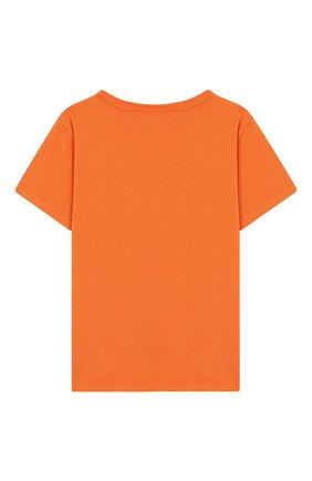 Детская хлопковая футболка raddix MOLO оранжевого цвета, арт. 1S19A212 | Фото 2