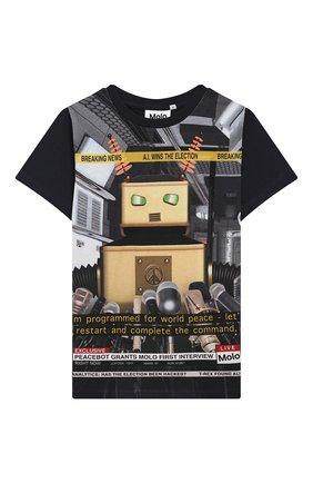 Детская хлопковая футболка raddix MOLO черного цвета, арт. 1S19A223 | Фото 1