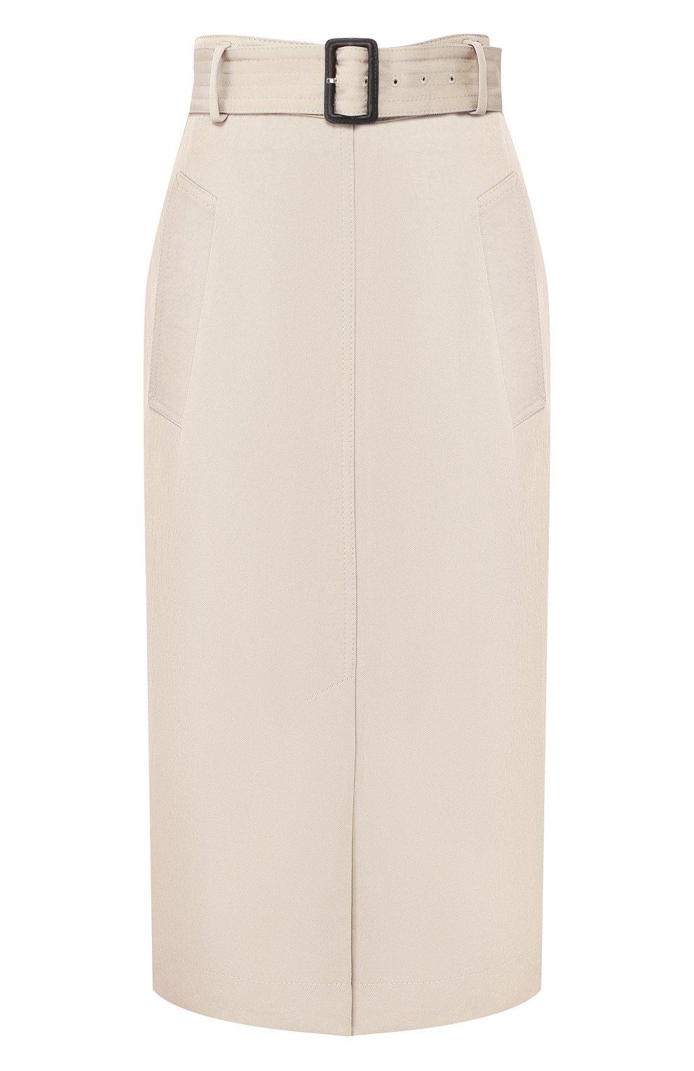 Женская хлопковая юбка с поясом BOSS бежевого цвета, арт. 50404752   Фото 1