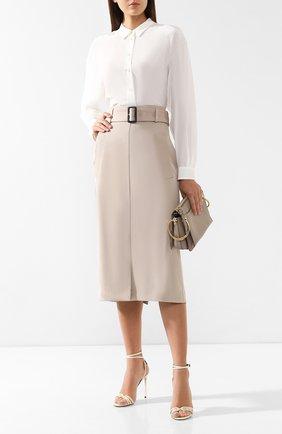 Женская хлопковая юбка с поясом BOSS бежевого цвета, арт. 50404752   Фото 2