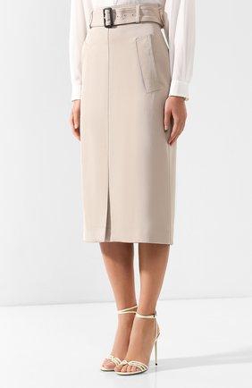 Женская хлопковая юбка с поясом BOSS бежевого цвета, арт. 50404752   Фото 3