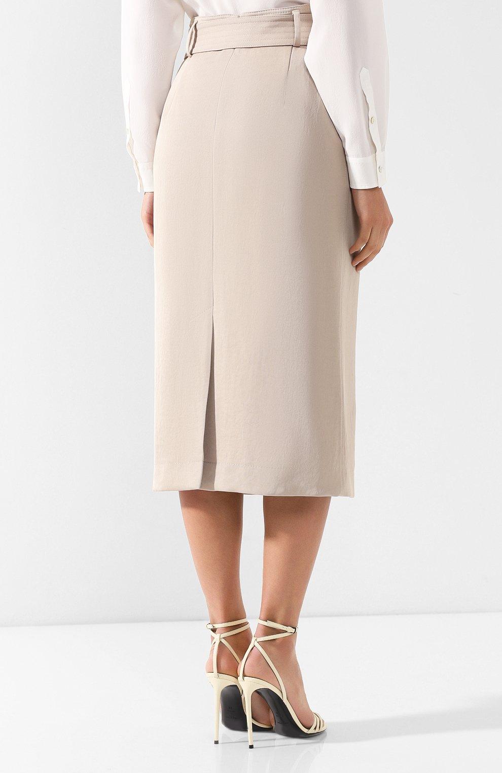 Женская хлопковая юбка с поясом BOSS бежевого цвета, арт. 50404752   Фото 4