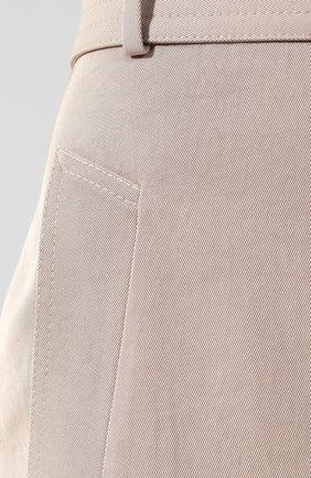 Женская хлопковая юбка с поясом BOSS бежевого цвета, арт. 50404752   Фото 5