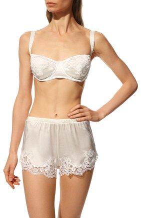 Женские шелковые шорты DOLCE & GABBANA белого цвета, арт. 03A02T/FUAD8 | Фото 2