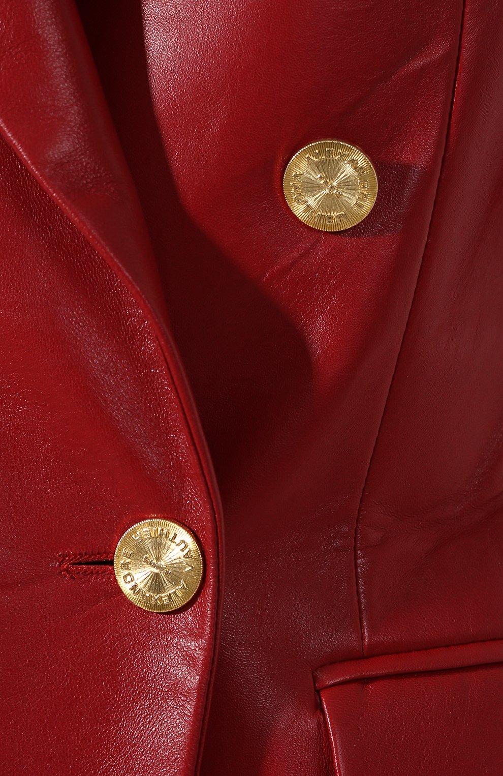 Кожаный жакет Alexandre Vauthier красный | Фото №5