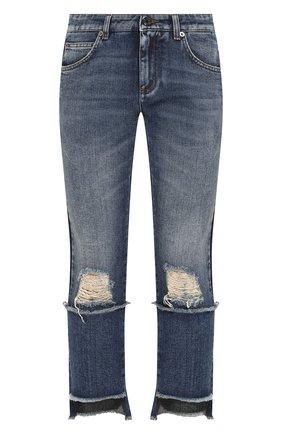 Женские джинсы с потертостями DOLCE & GABBANA синего цвета, арт. FTA0PD/G8V47 | Фото 1
