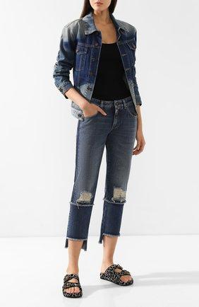 Женские джинсы с потертостями DOLCE & GABBANA синего цвета, арт. FTA0PD/G8V47 | Фото 2