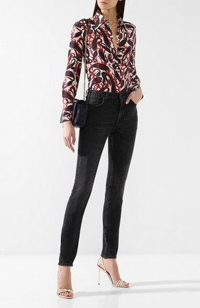 Женские джинсы-скинни SAINT LAURENT серого цвета, арт. 542774/YV869 | Фото 2