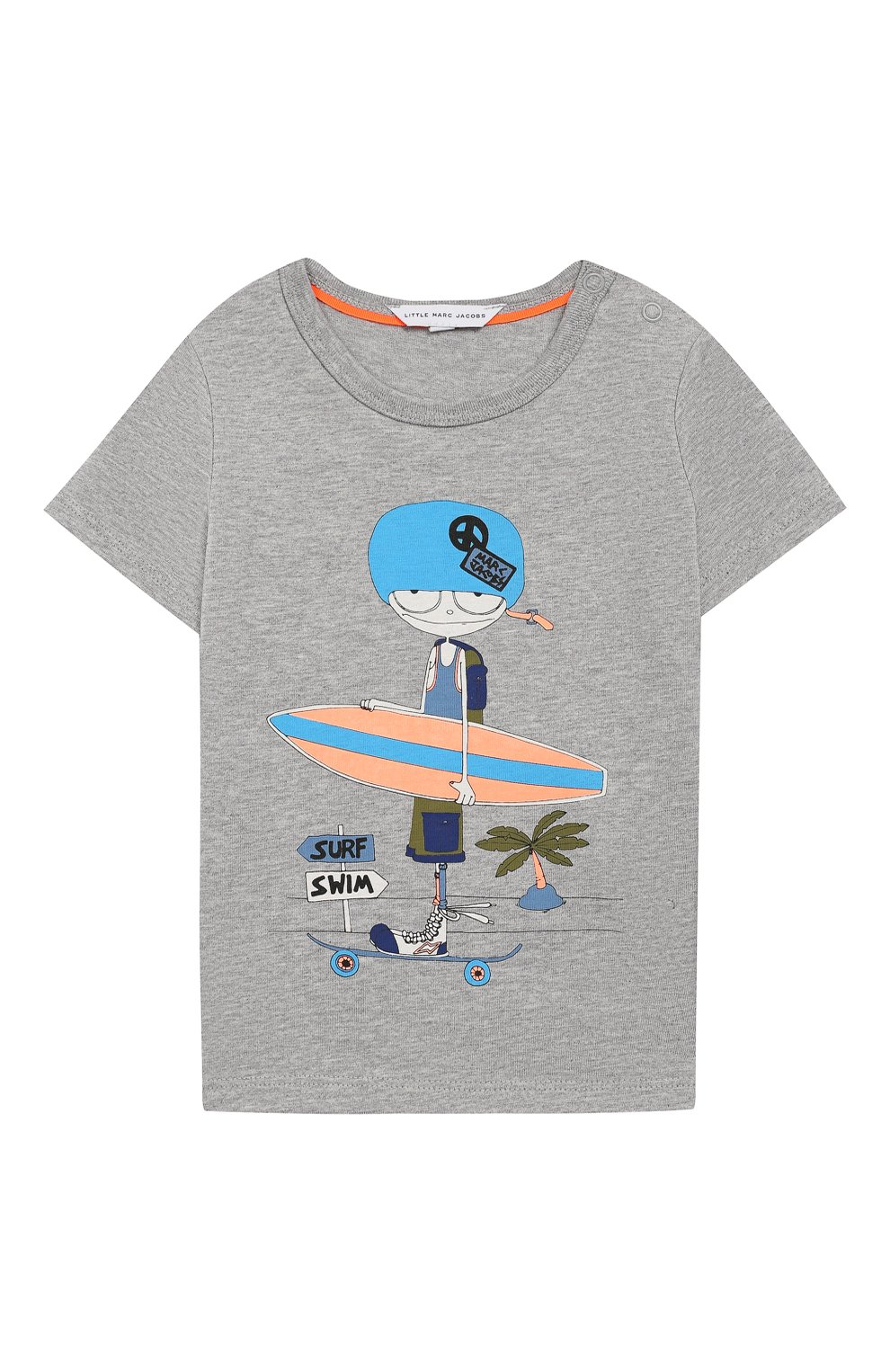 Детский хлопковая футболка MARC JACOBS (THE) серого цвета, арт. W05252/6M-18M | Фото 1