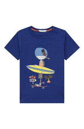 Детский хлопковая футболка MARC JACOBS (THE) синего цвета, арт. W05252/6M-18M | Фото 1