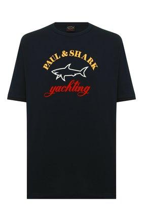 Мужская хлопковая футболка PAUL&SHARK темно-синего цвета, арт. C0P1006/C00 | Фото 1
