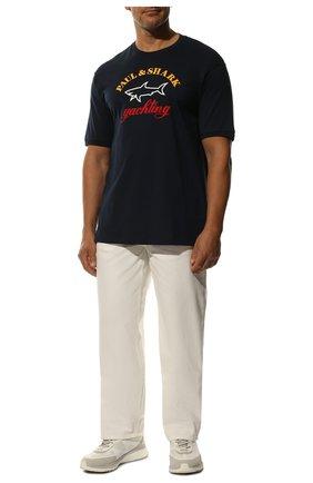 Мужская хлопковая футболка PAUL&SHARK темно-синего цвета, арт. C0P1006/C00 | Фото 2