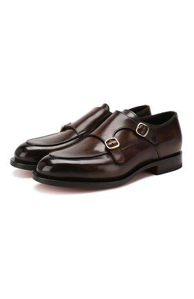 Мужские кожаные монки SANTONI темно-коричневого цвета, арт. MCC016036MC3HVVDT50   Фото 1