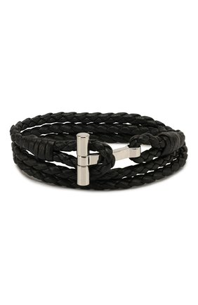 Мужской кожаный браслет TOM FORD черного цвета, арт. JM0005T-SC0BR | Фото 1