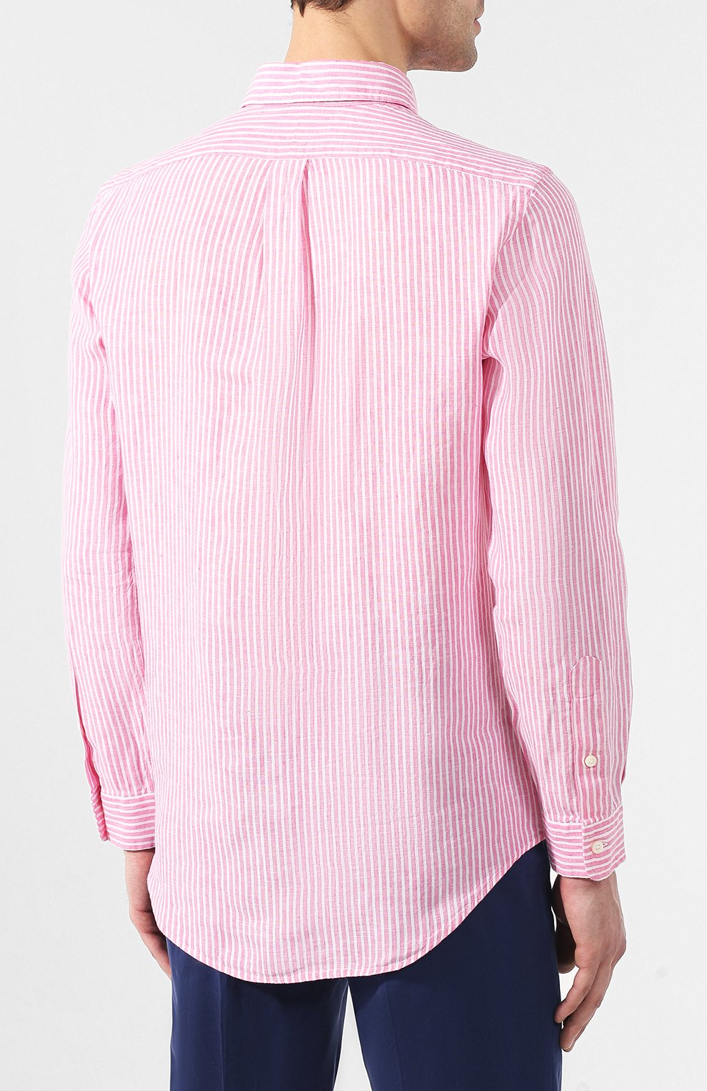 09a3b92051d Мужская розовая льняная рубашка с воротником button down POLO RALPH ...