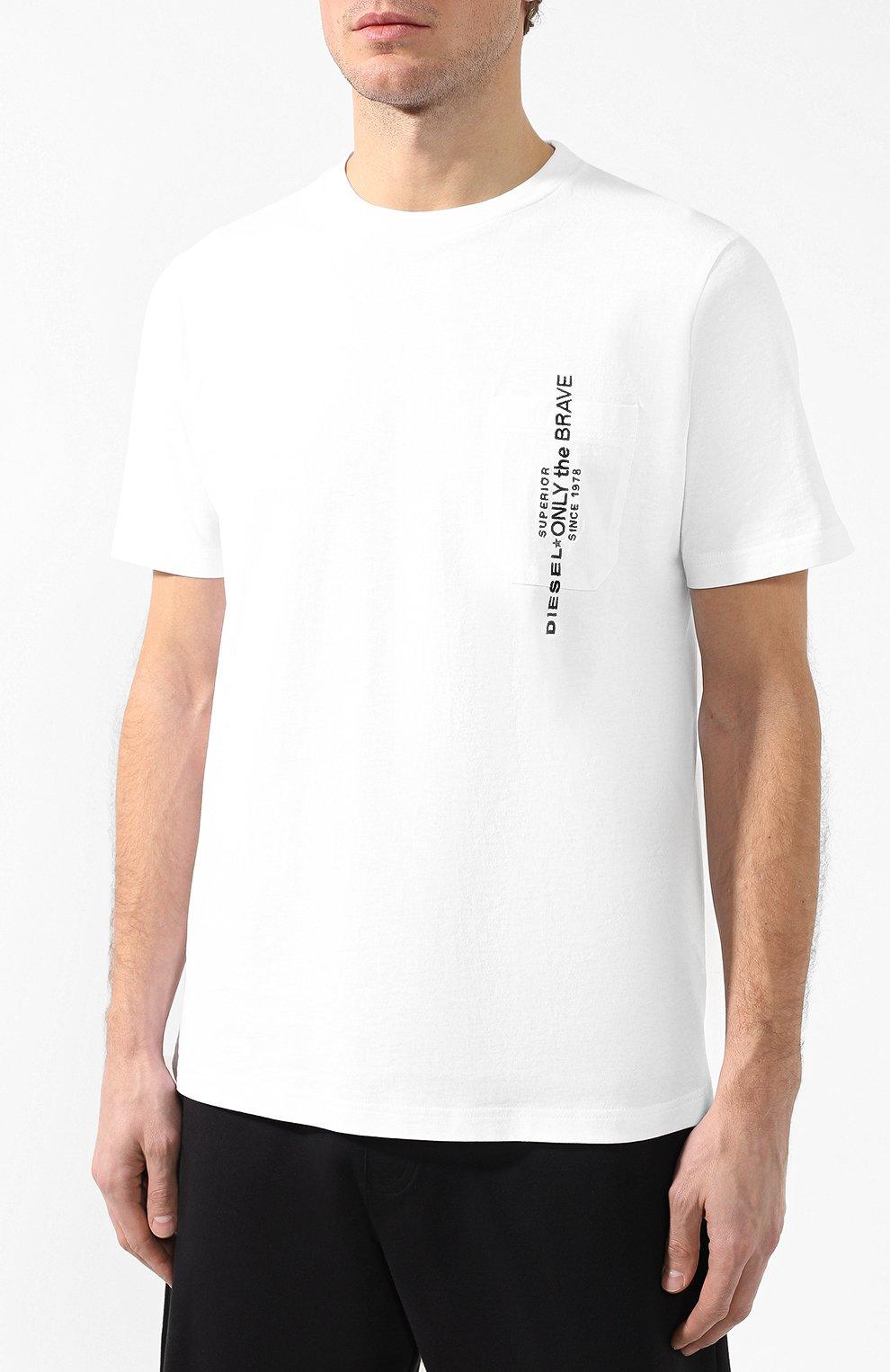 Хлопковая футболка Diesel белая | Фото №3