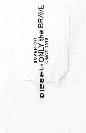 Хлопковая футболка Diesel белая | Фото №5