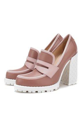 Женская кожаные туфли BOTTEGA VENETA розового цвета, арт. 548199/VT040 | Фото 1