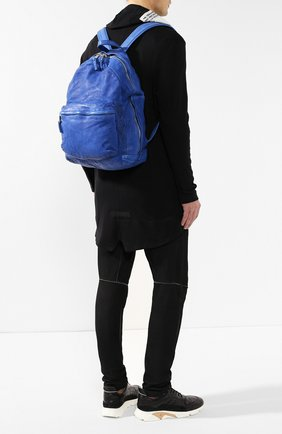 Мужской кожаный рюкзак GIORGIO BRATO синего цвета, арт. BS19S2401V   Фото 2 (Материал: Натуральная кожа; Статус проверки: Проверена категория)
