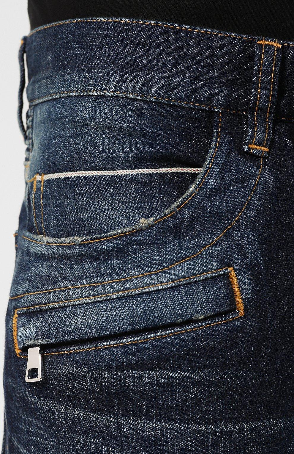 Джинсы прямого кроя Balmain синие | Фото №5