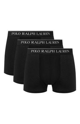 Мужские комплект из трех хлопковых боксеров POLO RALPH LAUREN черного цвета, арт. 714513424/002 | Фото 1