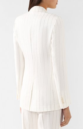 Льняной жакет Loro Piana белый | Фото №4