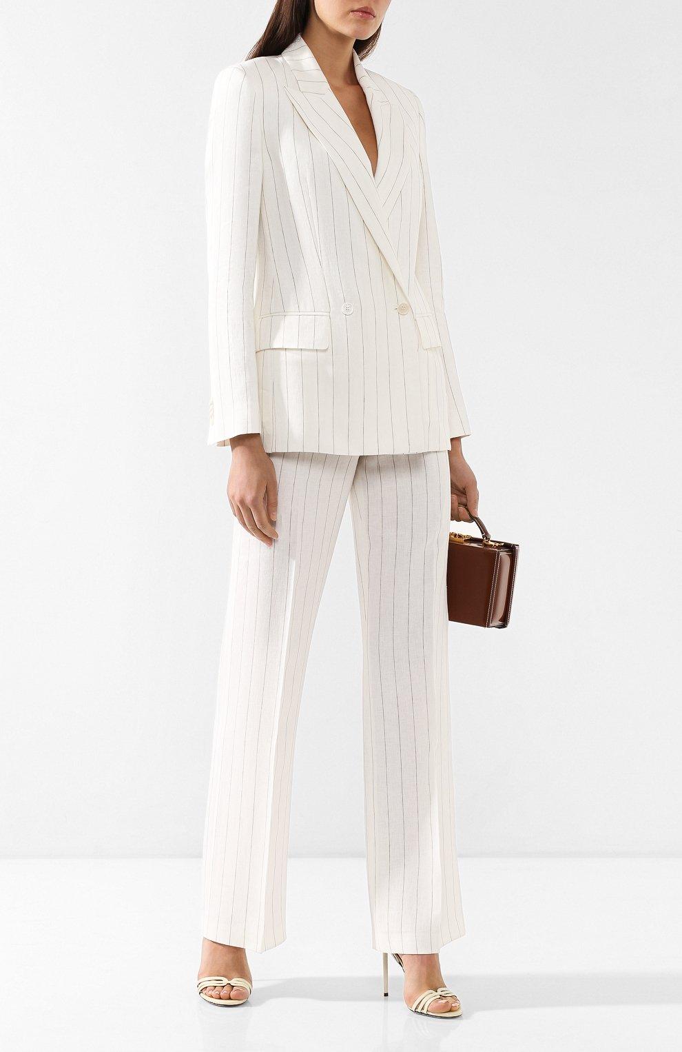 Льняные брюки Loro Piana белые | Фото №2