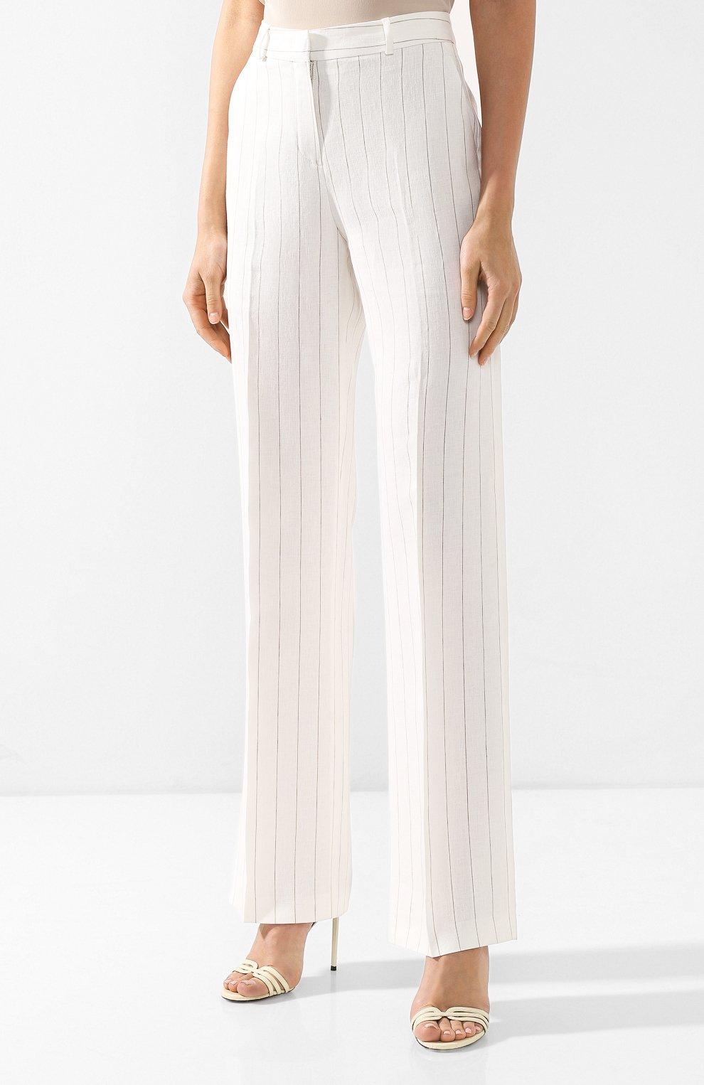 Льняные брюки Loro Piana белые | Фото №3