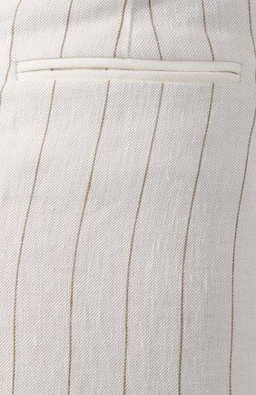 Льняные брюки Loro Piana белые | Фото №5