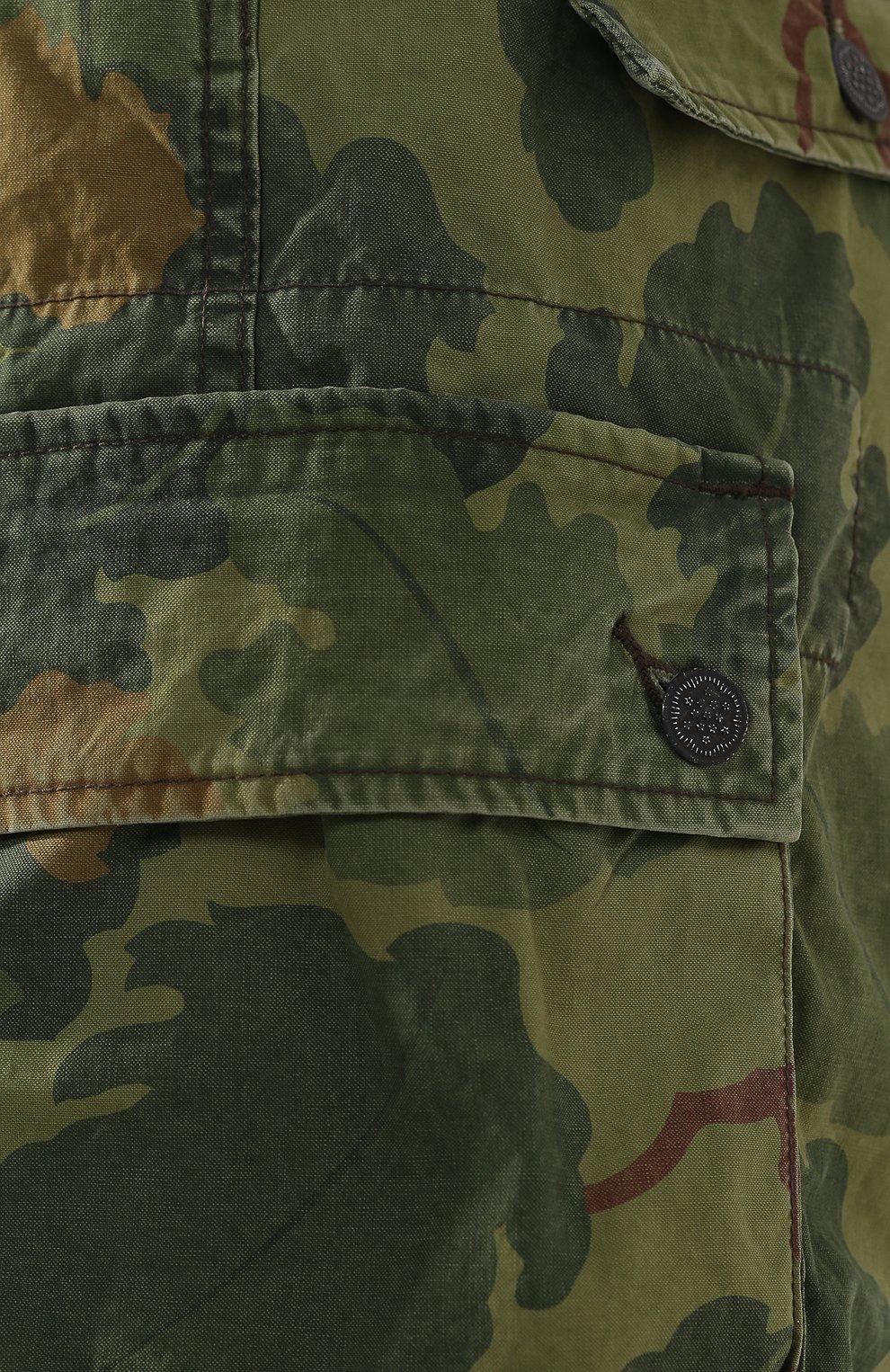 Мужские хлопковые шорты RRL хаки цвета, арт. 782726013   Фото 5 (Мужское Кросс-КТ: Шорты-одежда; Длина Шорты М: До колена; Принт: С принтом; Стили: Милитари; Материал внешний: Хлопок; Статус проверки: Проверена категория)