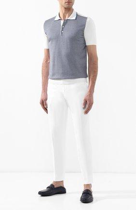 Мужское поло из смеси хлопка и шелка ANDREA CAMPAGNA белого цвета, арт. SU97079-LDM9   Фото 2