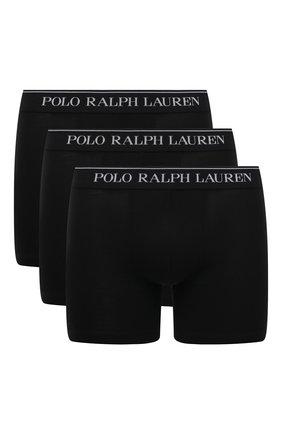 Мужские комплект из трех хлопковых боксеров POLO RALPH LAUREN черного цвета, арт. 714621874/003 | Фото 1