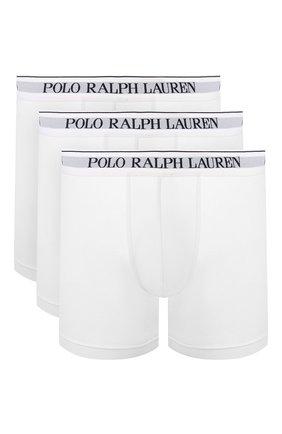 Мужские комплект из трех хлопковых боксеров POLO RALPH LAUREN белого цвета, арт. 714621874/004 | Фото 1