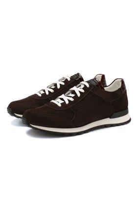 Замшевые кроссовки с отделкой из кожи крокодила   Фото №1