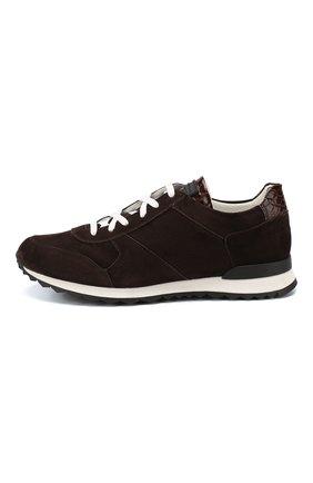 Замшевые кроссовки с отделкой из кожи крокодила   Фото №3