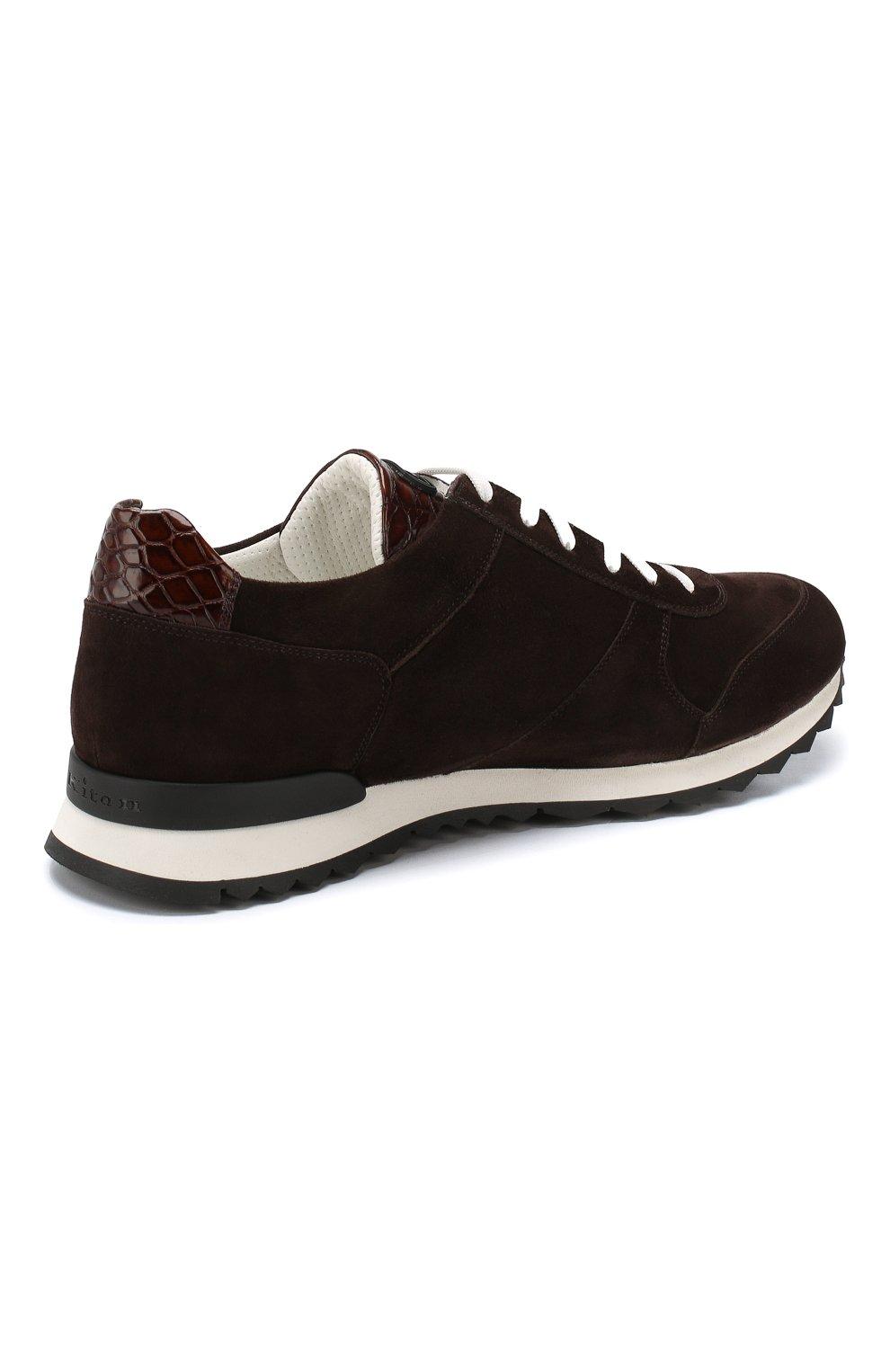 Замшевые кроссовки с отделкой из кожи крокодила   Фото №4
