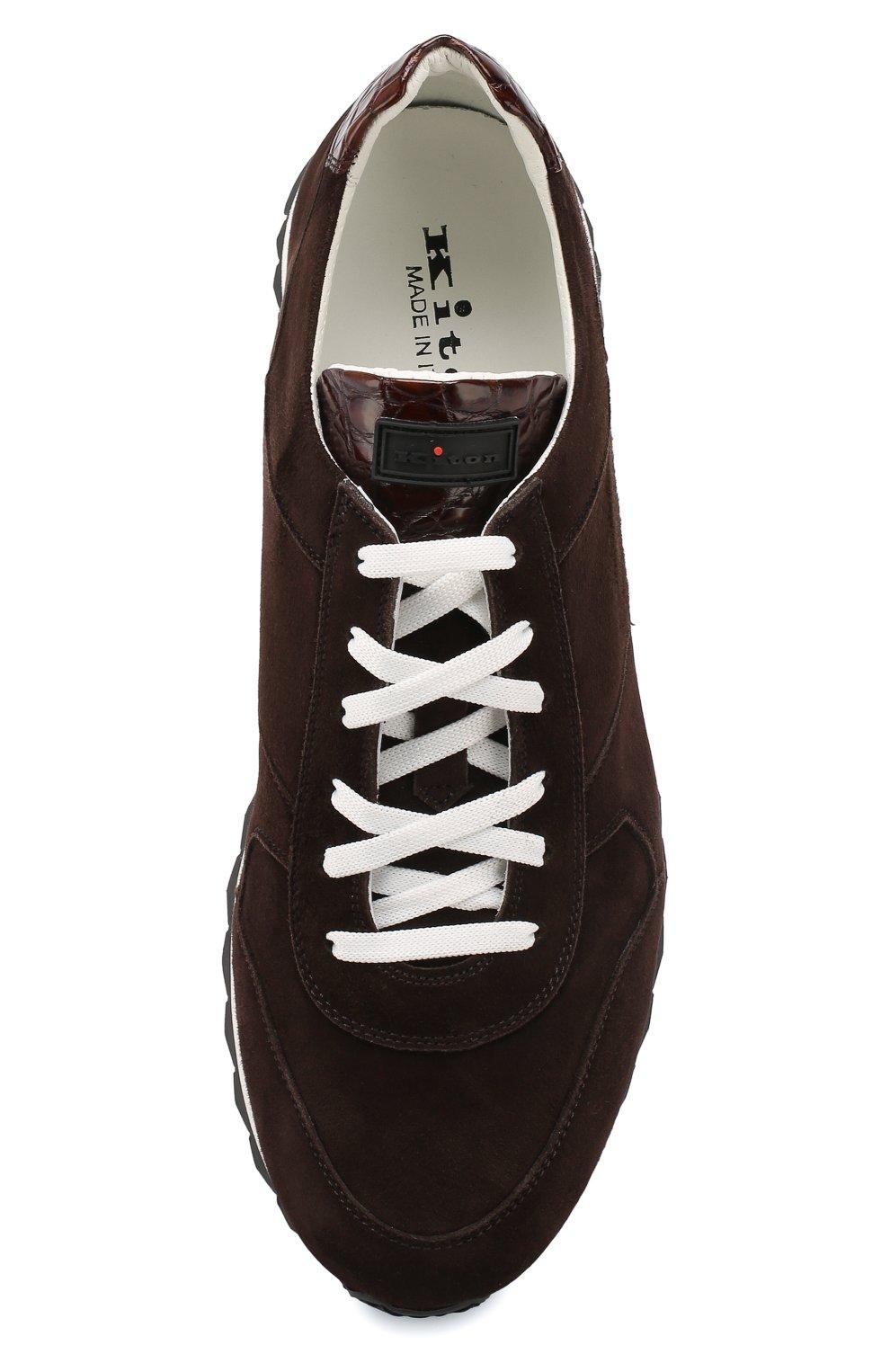 Замшевые кроссовки с отделкой из кожи крокодила   Фото №5