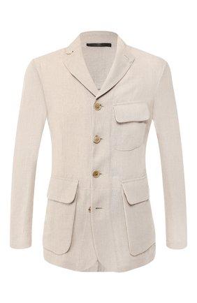 Мужской льняной пиджак GIORGIO ARMANI бежевого цвета, арт. 9SGGG06S/T00PI   Фото 1