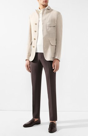 Мужской льняной пиджак GIORGIO ARMANI бежевого цвета, арт. 9SGGG06S/T00PI   Фото 2