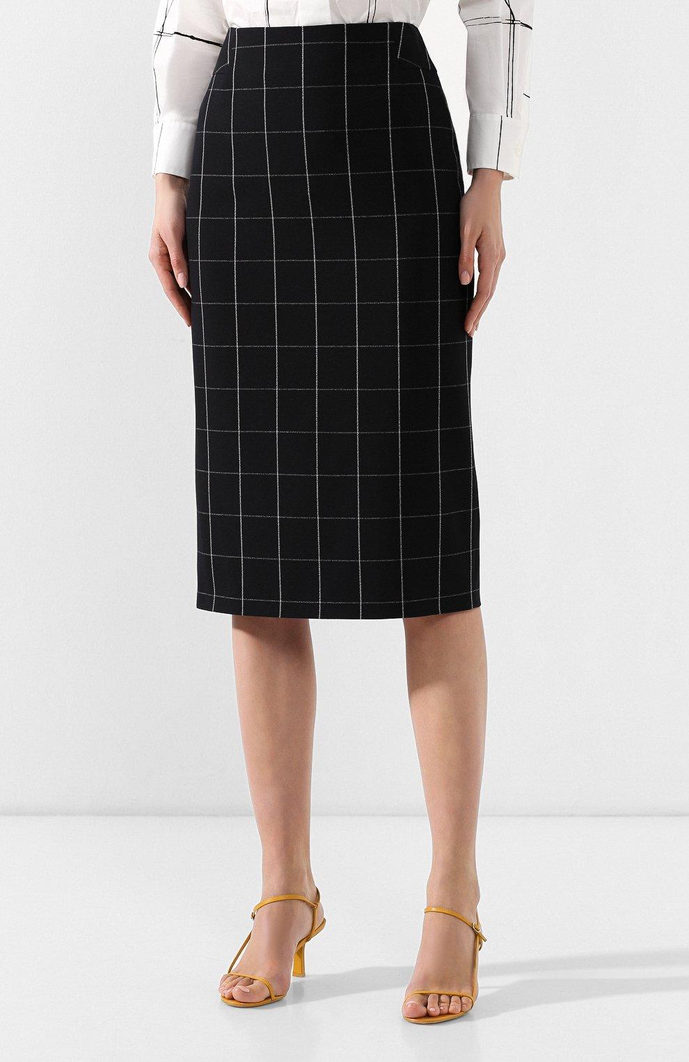 Женская юбка-миди BOSS черно-белого цвета, арт. 50404835 | Фото 3