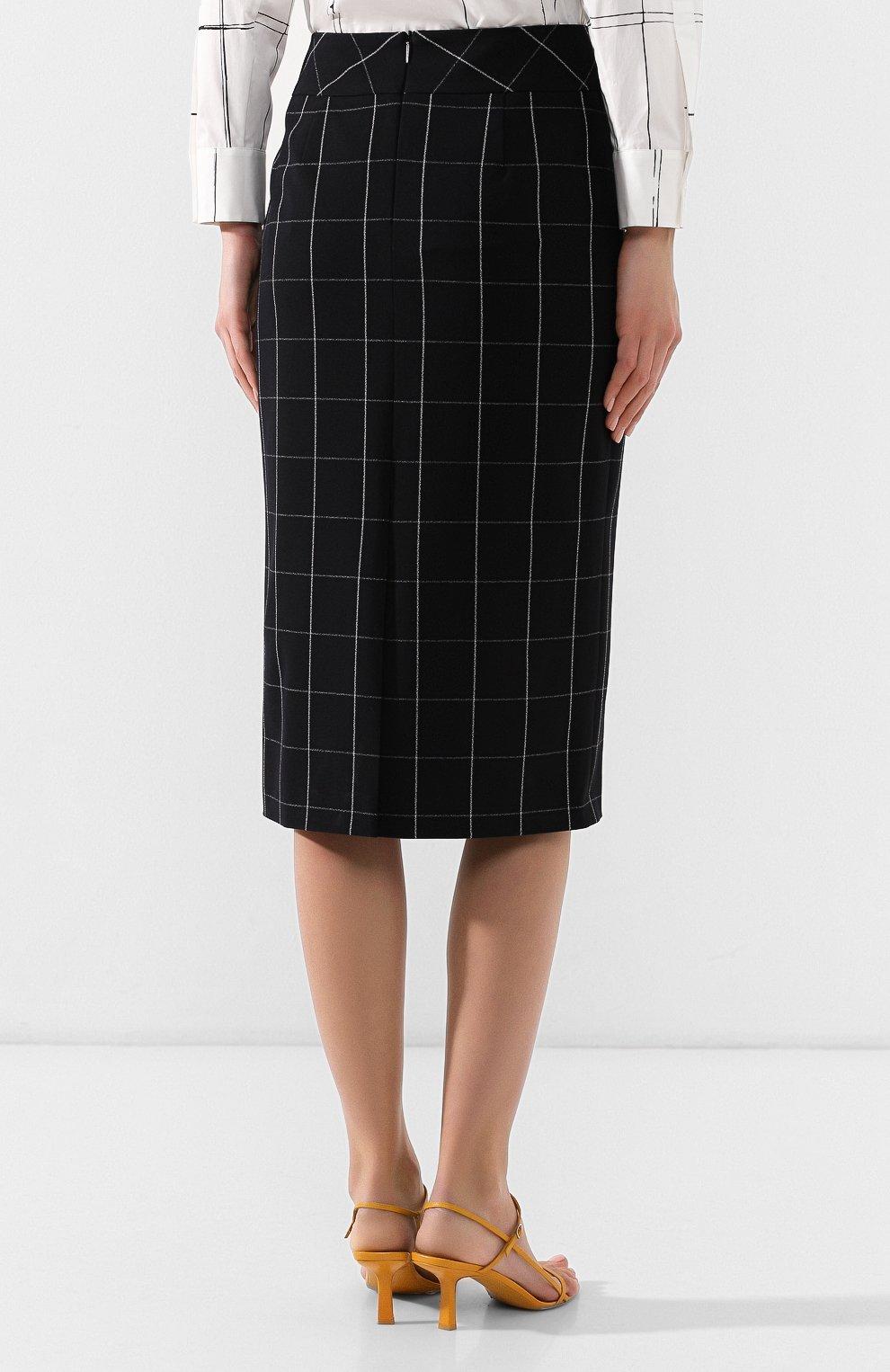 Женская юбка-миди BOSS черно-белого цвета, арт. 50404835 | Фото 4