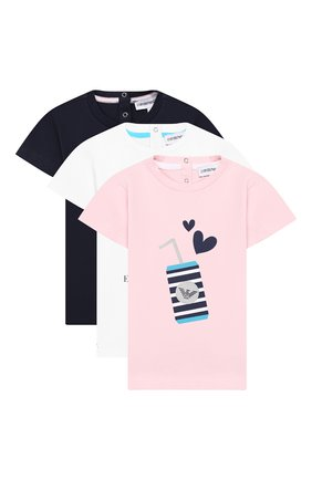Детский комплект из трех хлопковых футболок EMPORIO ARMANI разноцветного цвета, арт. 3GED03/3J08Z | Фото 1