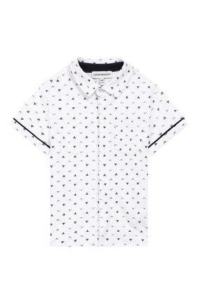 Детский хлопковая рубашка EMPORIO ARMANI белого цвета, арт. 3GHC05/4NHKZ | Фото 1