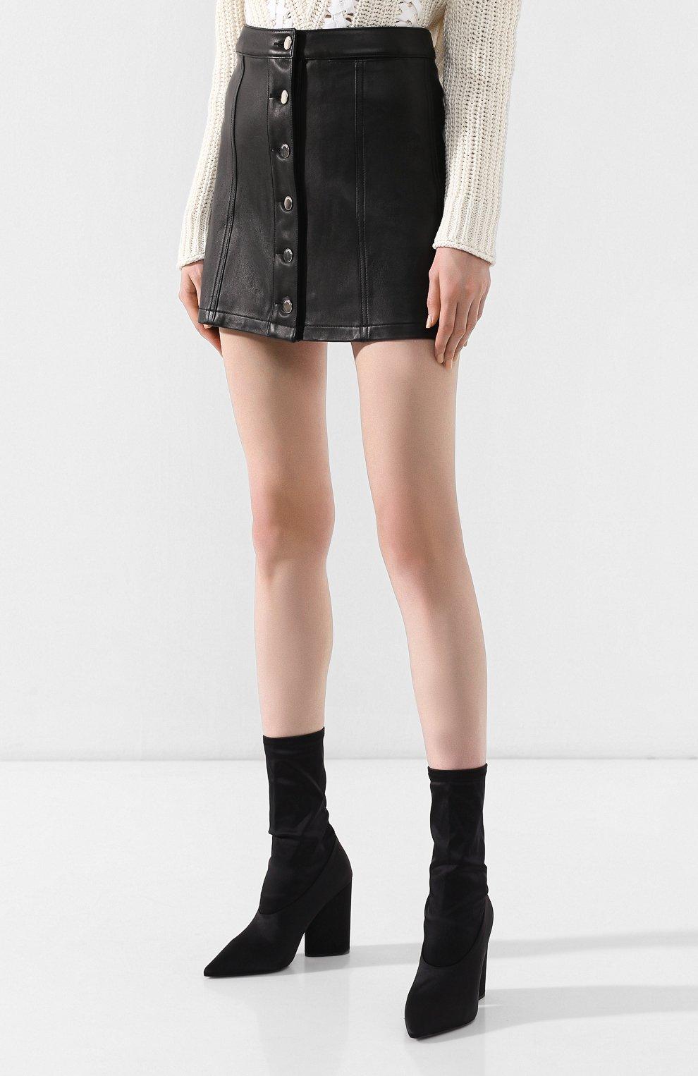 Кожаная мини-юбка | Фото №3