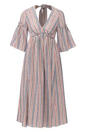 Льняное платье в полоску с открытой спиной | Фото №1