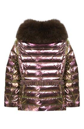 Детского куртка с меховой отделкой YVES SALOMON ENFANT розового цвета, арт. 9EEV001XXD0RD/4-6   Фото 2