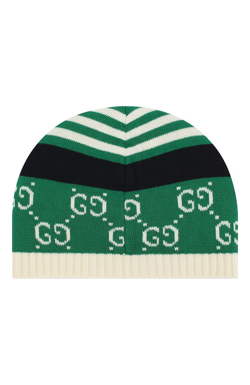 Хлопковая шапка Gucci зеленого цвета | Фото №2