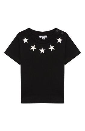 Детский хлопковая футболка GIVENCHY черного цвета, арт. H05073/6M-18M | Фото 1